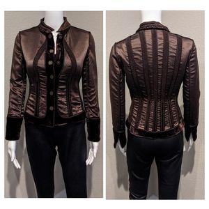 ELIE TAHARI wool/velvet reversible blazer jacket
